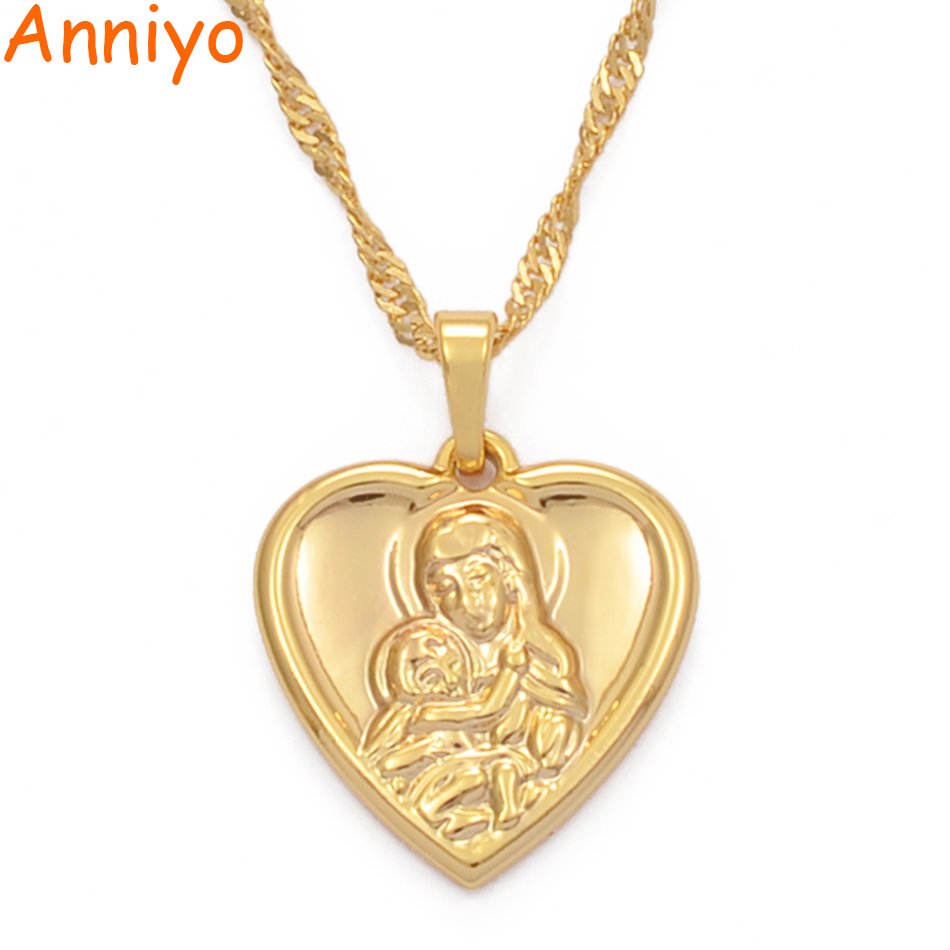 Anniyo Heart Gold Color Lady and Son Pendant Necklaces Religious Pilgrimage Jewelry Gifts for Women Girls #057704