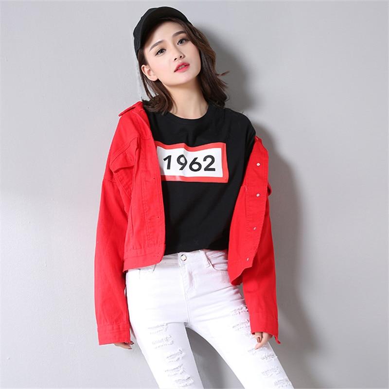 2018 Casual Harajuku Manteau red Rouge Pardessus De Coréenne Femme Jeans  Grande Taille Base Automne Blue Survêtement Femmes Court Denim Veste  qW8Swx8ZIA b37a0041f21b