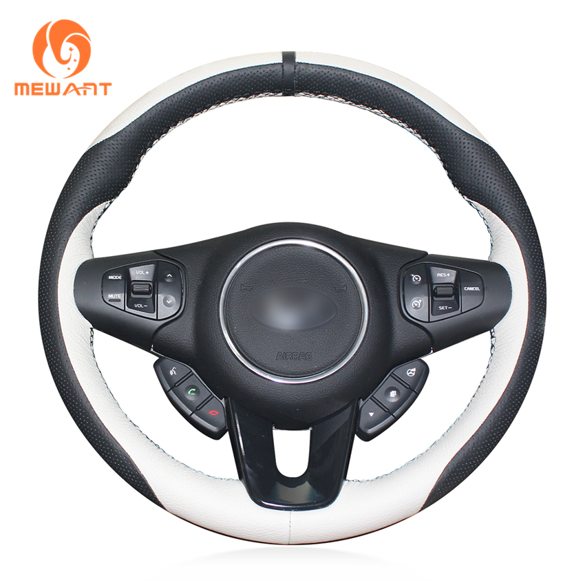 MEWANT Black White Genuine Leather Black Marker Car Steering Wheel Cover for Kia Carens 2012 2013 цена