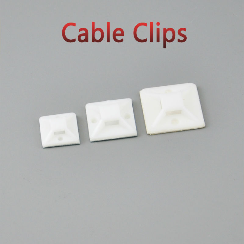 50pcs Self Adhesive Cable Tie Mounts 40*40 Car Wire Tie Clips Flat Holder Fixer Organizer Drop Adhesive Clamp White Black