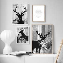 Deer Flower Quotes Wall Art Canvas Painting Nordic Posters And Prints Retro Poster Pop Art Wall Pictures For Living Room Decor moon sun quotes nordic poster wall art canvas painting posters and prints canvas art print wall pictures for living room decor