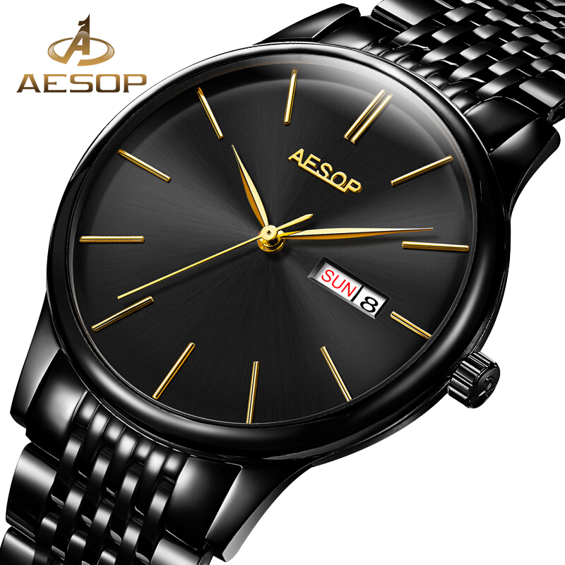 где купить AESOP Brand Simple Watch Men Black Automatic Mechanical Wrist Wristwatch Minimalist Thin Male Clock Relogio Masculino Hodinky 46 дешево