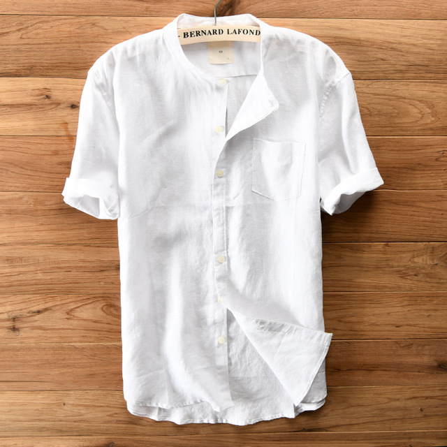 Stand Manches Pur Col Longues Casual Lin Solide Chemise Hommes D'été gI7b6yYfv