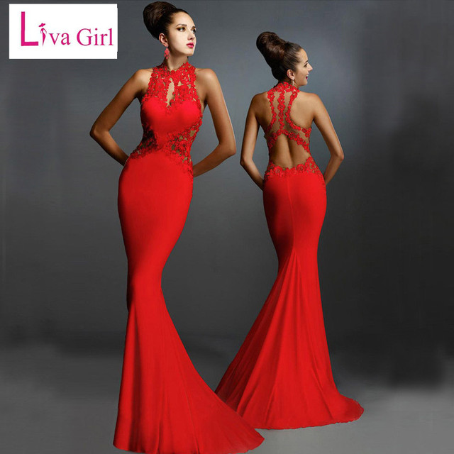 f10a5ac6f7 Liva Girl Women Formal Bride Dresses Red Open Back Floor Length Fashion  Dress Fishtail Sexy Elegant Floral Lace Maxi Dresses