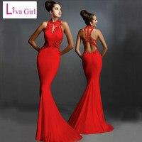 Liva Menina Mulheres Formais Vestidos de Noiva Red Costas Abertas Até O Chão Moda Vestido Rabo de Peixe Sexy Lace Floral Elegante Maxi Vestidos