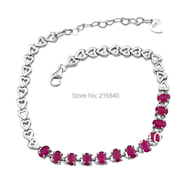 Bracelet rubis naturel 925 en argent Sterling femme Fine élégante rose gemme bijoux fille pierre de naissance saint-valentin cadeau SB0011R