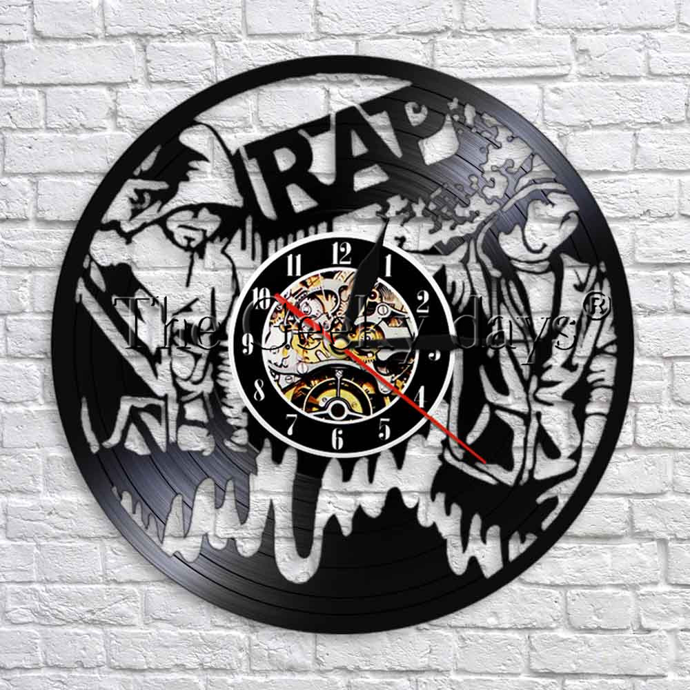 Rap Hip Hop Music Vinyl Record Wall Clock Modern Design Musical 3D Wall Watches Clock Unique Gift For Rappers Rap Lover(China)