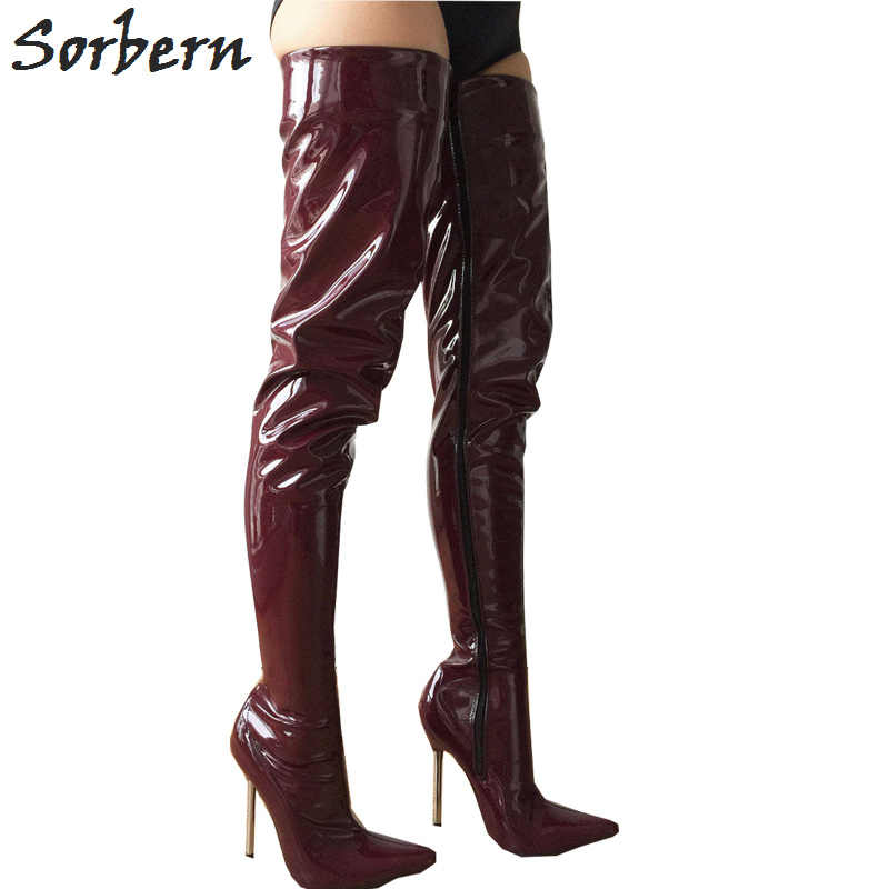 6242148e756 Sorbern Brown Red Shiny 80Cm Crotch Thigh High Boots Women 12Cm Stilettos  Metal High Heels Pointy