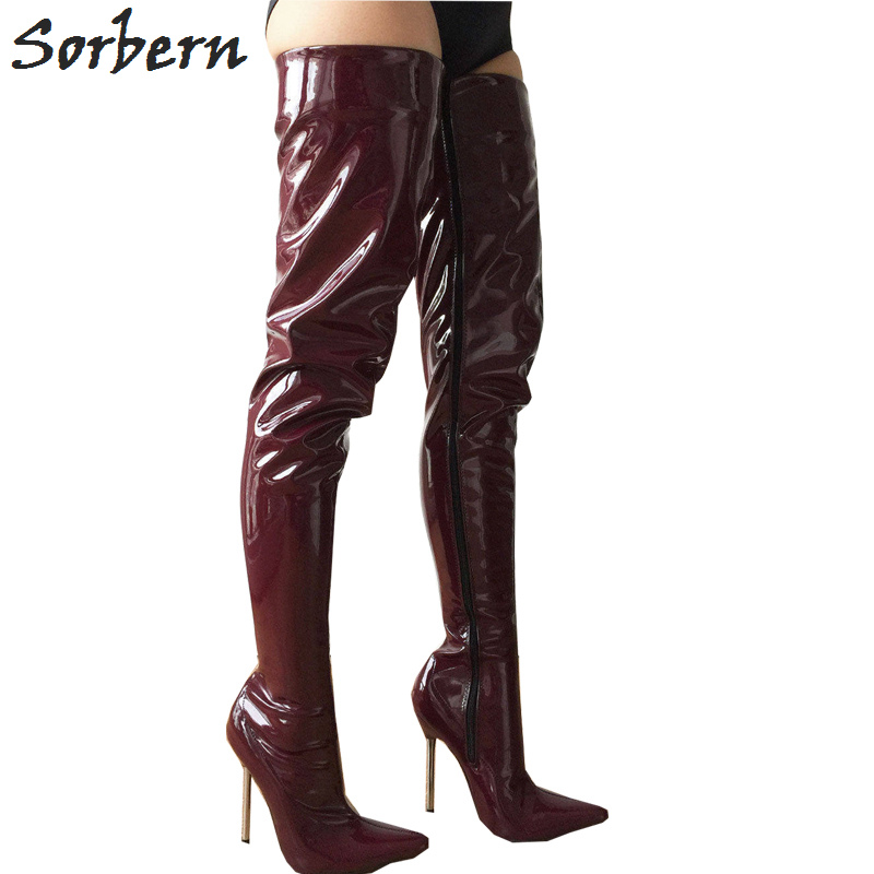 79f4e3b4ce7 Sorbern Brown Red Shiny 80Cm Crotch Thigh High Boots Women 12Cm Stilettos  Metal High Heels Pointy Toes Custom Wide Calf Fit Shoe - aliexpress.com -  imall. ...