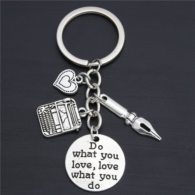 1pc Dropshipping Pen Charms Typewriter Key Chains Secretary Keyring Gift For Author Office Jewelry Do What You Love E2028