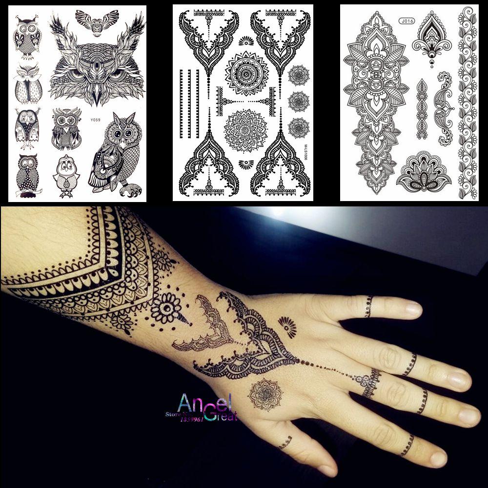 Mehndi Tattoo Stickers : Lace black henna temporary tattoo sticker owl mandala