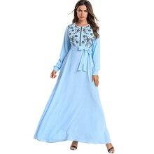 Abayas Muslim Dress  Women Long Sleeves Sky Blue Long Dress Front Zipper Floral Embroidery A Line Maxi Dresses navy floral pattern long sleeves maxi dress