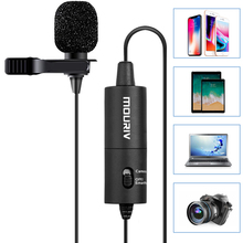 Mouriv Lavalier Microphone, CM201 Omnidirectional Condenser Recording Microphones for Canon Nikon Sony iPhone 8 plus 7