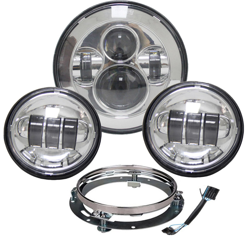 1 Set 7 LED Headlight Harley Daymaker with 4.5  Led Fog Light for Harley Davidson Motorcycle with 7 Bracket Adapter Ring harley motorcycle 7 inch orange motorcycle headlight 4 5 fog daymaker hid led light bulb headlight for harley davidson