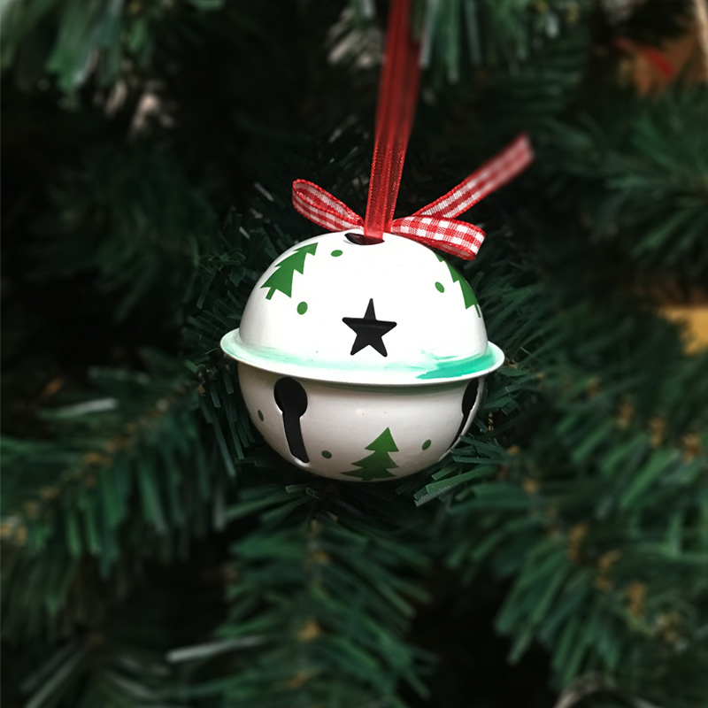 Christmas jingle bell 6pcs green white metal tree Christmas ornament for home 65*60mm large bell for Christmas tree decorations
