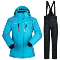 Для женщин Лыжный Спорт костюм ветрозащитный хлопковой подкладкой горнолыжные куртки и комплект с брюками зимние утолщаются доска Snowsports л