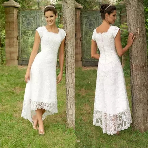 New Full lace Hi Lo wedding dresses A line Scoop Teal length Bridal gowns short sleeve