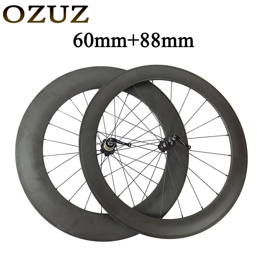 OZUZ 700C 60+88mm Clincher Tubular Carbon Wheel Road Bike Bicycle Wheels Carbon Fiber Rims Novatec 271/372 Hubs 3K Wheelset full carbon wheels road bicycle wheelset carbon 38 50 60 88mm clincher tubular wheel