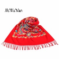 China Embroidery Floral Paisley Winter Scarf Women New 2017 Cashmere Blanket Scarves Stoles Warm Turquoise Pashmina Ethnic Shawl
