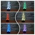 Presente de natal criativo 3d ilusão lâmpada engraçado boneco de neve de natal led night light novelty acrílico descoloração lâmpada atmosfera