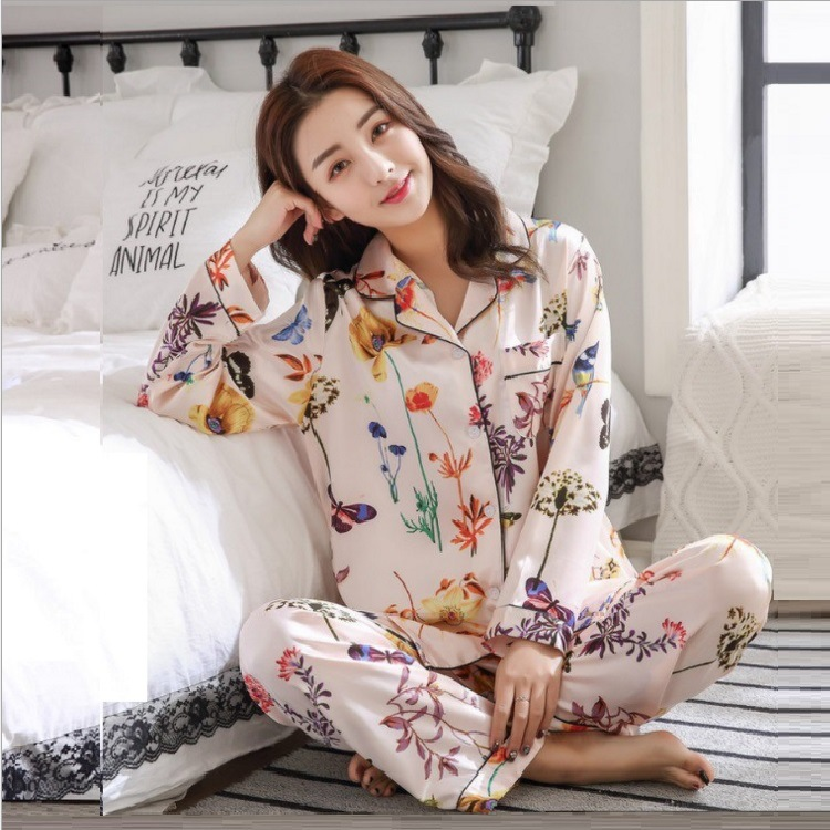 Spring autumn new nightgowns women sweet lovely flower silk pajama set home clothing long sleeve trousers two piece suit in Pajama Sets from Underwear Sleepwears