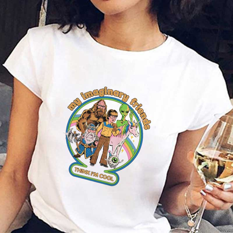 90s Vintage Graphic Tees Tops 80s Ulzzang Kpop Korean Style Fashion Female T Shirt My Imaginary Friend Tshirt Funny Vintage Tops