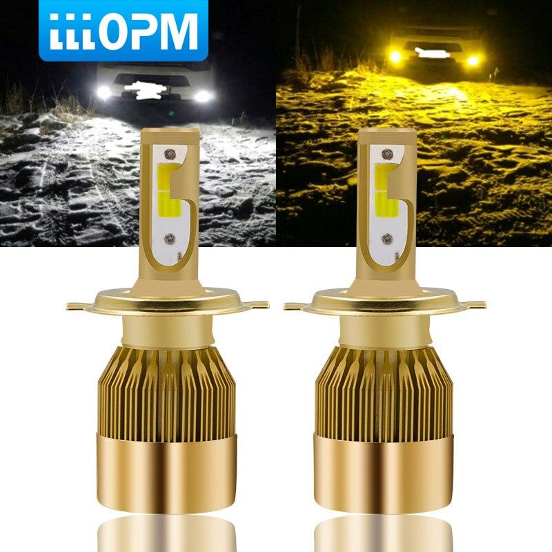 2pcs H7 H11 LED Car Headlight 9005 HB3 9006 HB4 H8 9012 H1 H3 880 881 H27 H4 LED Dual Color Headlight Kit 3000K 6000K 9600LM