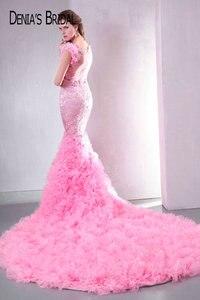 Image 2 - Fotos reais rosa querida frisado apliques sem costas sereia vestidos de noite andar de comprimento capela trem longo vestidos de baile