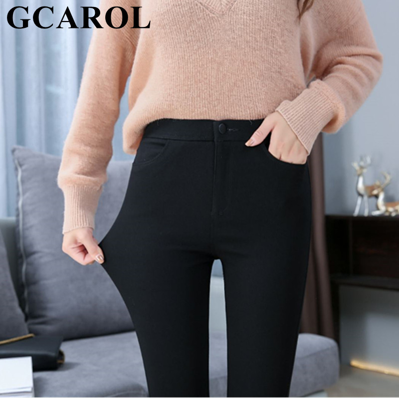 GCAROL New High Waisted Pencil Pants Elastic Waist Skinny Ankle Length Denim   Jeans   High Stretch Basic Render Pants S-XXL