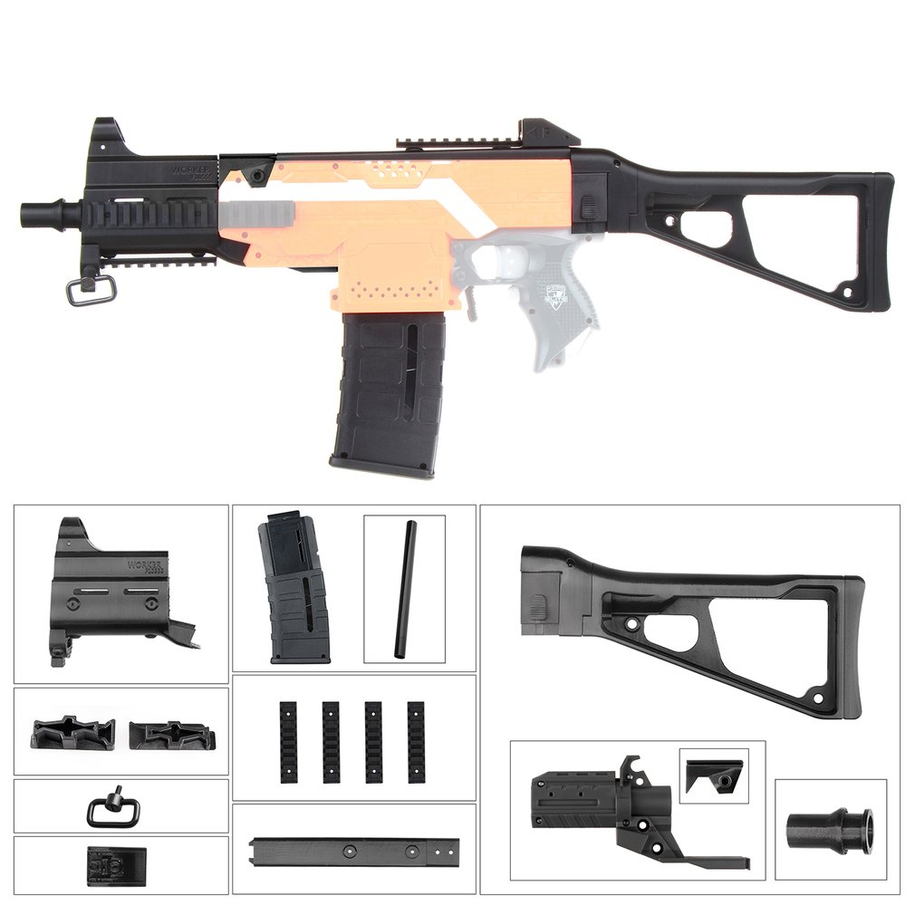 WORKER F10555 UMP9 Rifle Imitation Kit 3D Printing High Strength Combo For Stryfe Modify Toy For Nerf Parts Toys Accessory GiftWORKER F10555 UMP9 Rifle Imitation Kit 3D Printing High Strength Combo For Stryfe Modify Toy For Nerf Parts Toys Accessory Gift