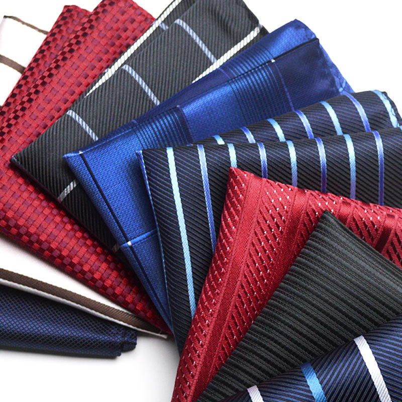 New Style Vintage Fashion Party Men's Handkerchief Star Silver Striped Groomsmen Men Pocket Square Hanky 22*22cm