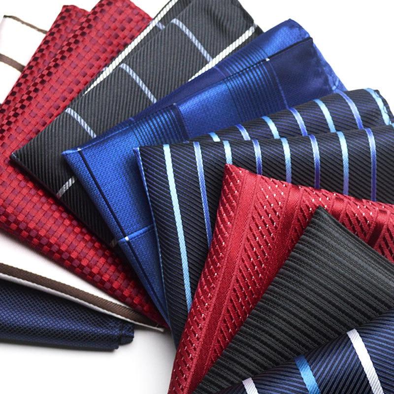 New Style Vintage Fashion Party Men's Handkerchief Star Silver Striped Groomsmen Men Pocket Square Hanky 22*22cm