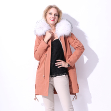 Factory direct supply winter 17 new Parkas fur coat women's Rabbit Fur vest Liner bts bolero Real natural Raccoon Dog fur Collar