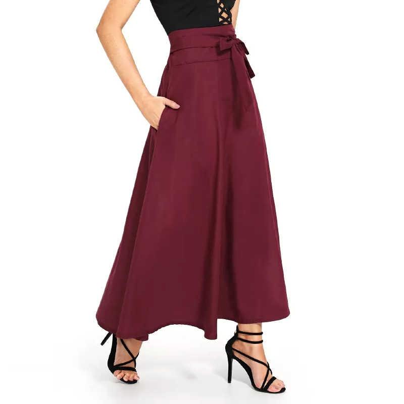 12a7c20a5c5 Sisjuly Женская Весенняя летняя бордовая зеленая черная длина до щиколотки  длинная юбка с бантом на шнуровке