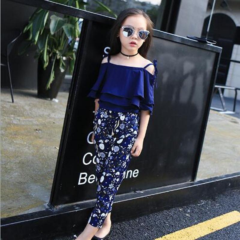 Dječja odjeća djevojke setovi ljeto Sling košulja + gležanj - - Dječja odjeća - Foto 3