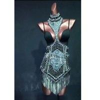 black Rivet tassel Jazz Dance Modern Dance Costume sexy Fashion High Quality Punk style Dancing Dress Stage Show Dresses