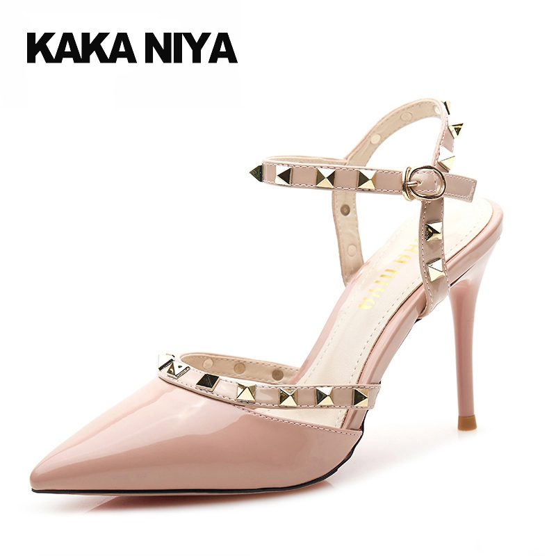 купить High Heels 9cm 4 Inch Scarpin Patent Leather Shoes Pink 34 Small Size Women Party Pumps Rivet Pointed Toe Slingback Strap недорого