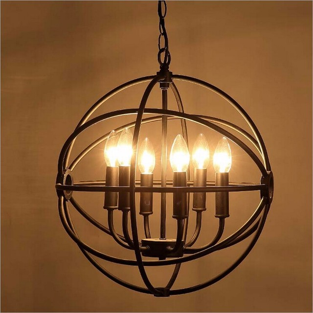 American Country Wrought Black Iron Pendant Light Loft Retro Globe Cafe Decoration Lighting