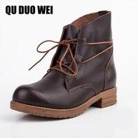 QUDUOWEI Fashion Full Grain Leather Martin Boots Autumn Genuine Leather Vintage Brand Design Shoes Retro Handmade
