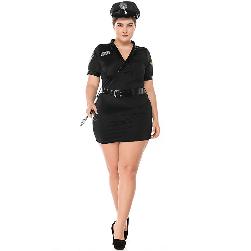 Adult Women Dirty Detective Costume Plus Size Female Police Cop Costume Policewomen Career Uniform Occupation Cosplay Partywear