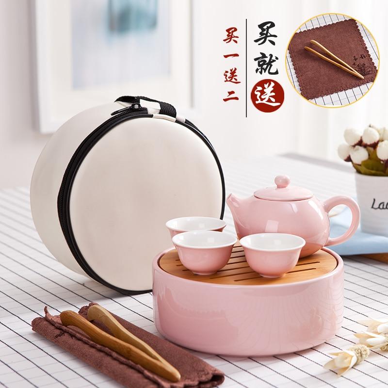 Mini outdoor travel tea ceramic set kung fu cup teapot tureen car portable set bag