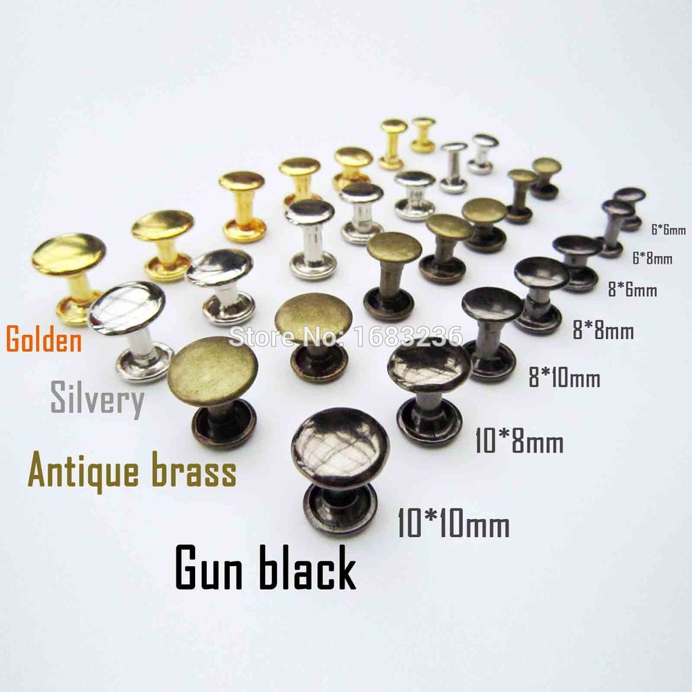 Metal Brass Double Round Cap Tubular Rapid Rivet Spike Stud for Leather Belt Bag