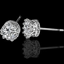 925 Sterling Sliver Fashion Jewelry Round 2 Carat Cubic Zirconia Silver Stud Earrings for Women(China)