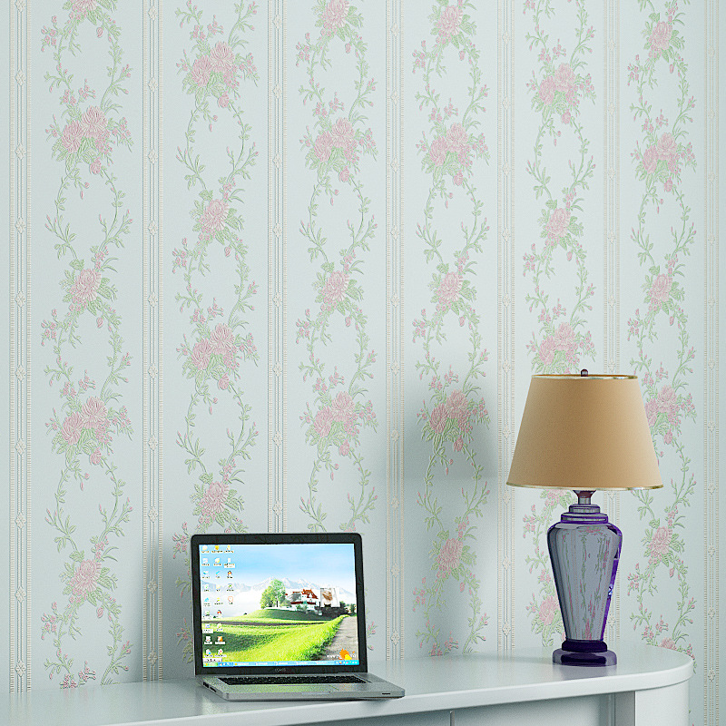 все цены на beibehang striped flowers non woven Wallpaper roll Pastoral Papel de parede Floral Wall Paper Home Decor For Living Room Bedroom онлайн