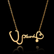 2017 New Fashion Stainless Steel Stethoscope Necklaces for Women Gold Silver Heart Pendant Necklace for Nurse Doctor
