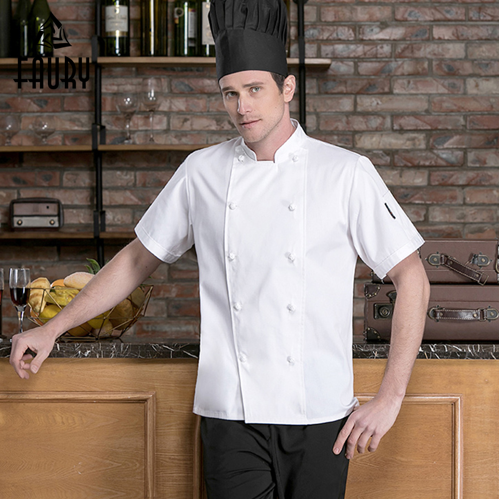 White Chef Jacket Restaurant Uniform Woven Buttons Summer Short Sleeve Kitchen Cook Shirts Hotel Catering Barbershop Overalls