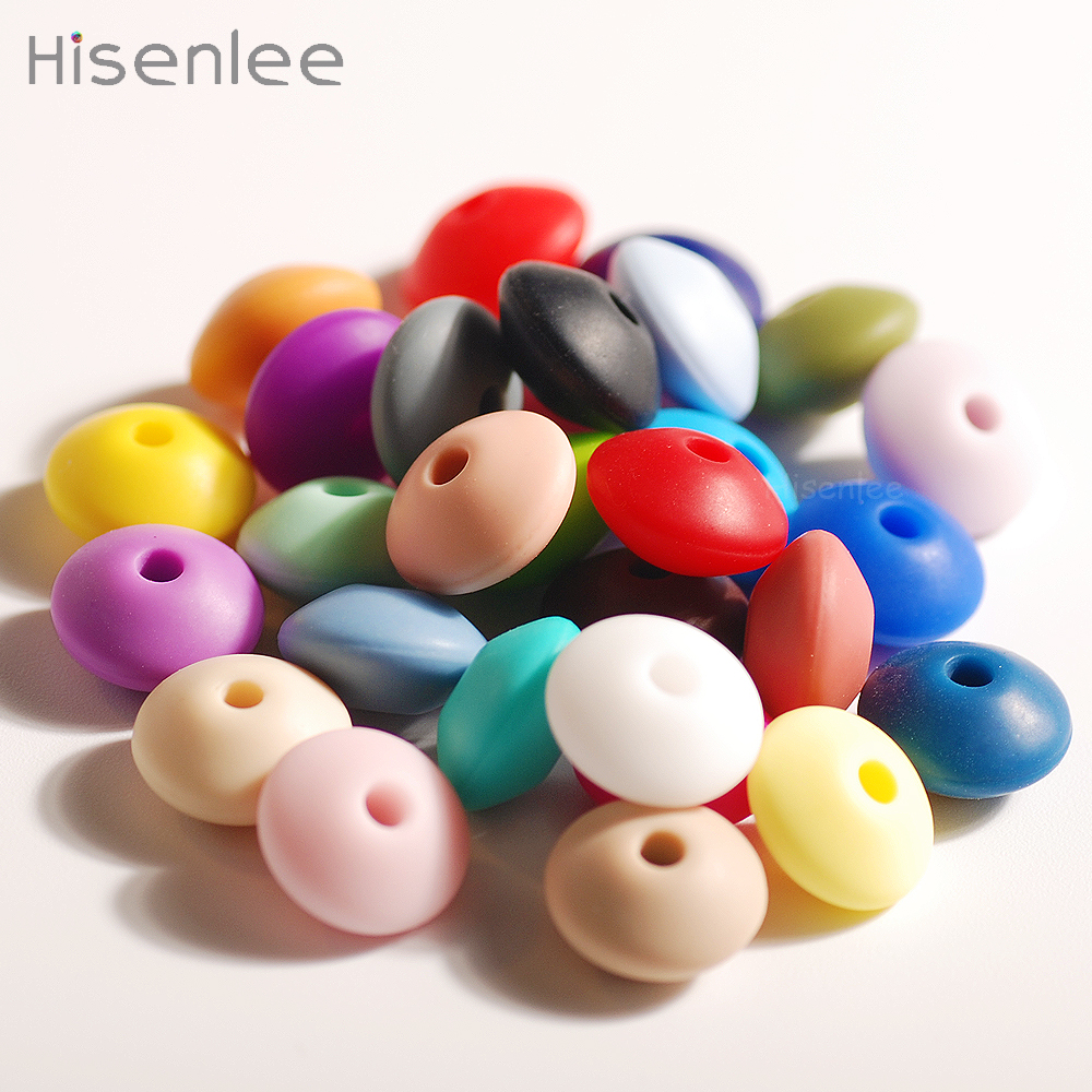 Hisenlee Wholesale 12mm Food Grade Silicone Lentil Shape Abacus Beads Baby Tooth Teether,SGS/FDA Certification,Safety Silicone