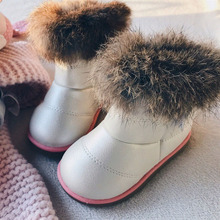 KALUPAO Children Shoes Kids Felt Boots Baby Rubber Boots Girls Shoes For Winter Baby Warm With Fur Inside Rabbit Hair Boots