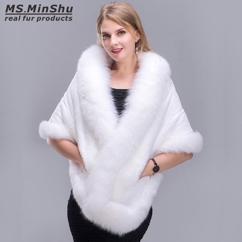 1837c15453f96a MinShu Fox Fur Shawl Winter Women Real Fur Pashmina Fashion Poncho Fox Fur  Trimmed Rex Rabbit Fur Cape Winter Cape Female-in Women's Scarves from  Apparel ...