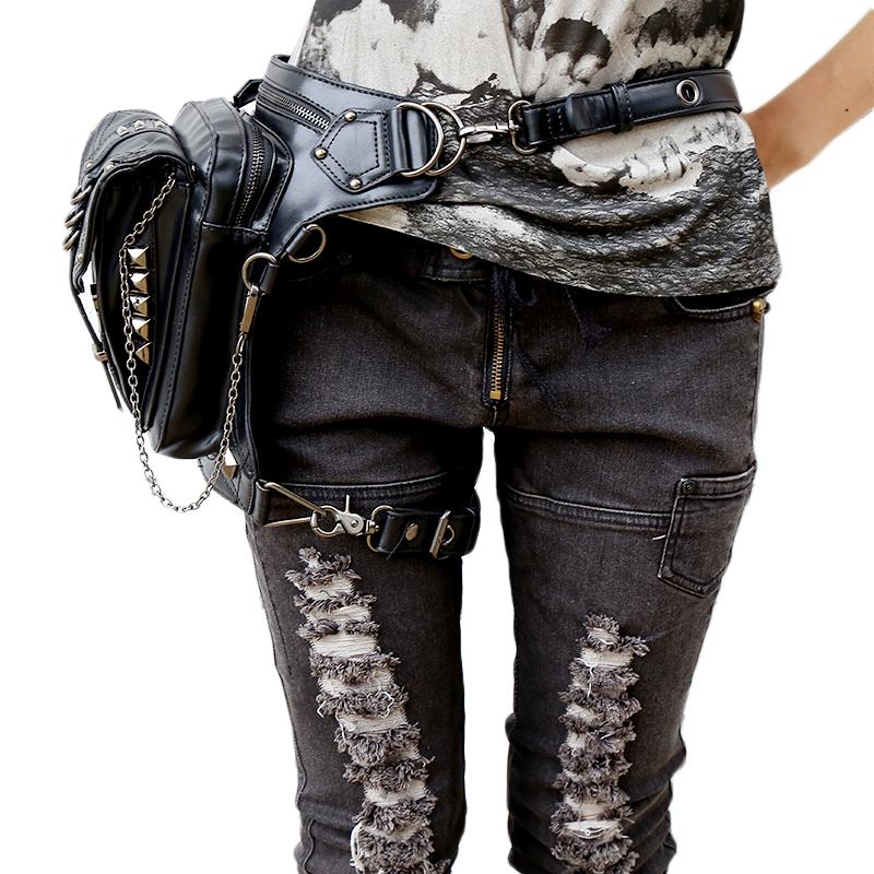 Metal Skull Black Leather Waist Bags